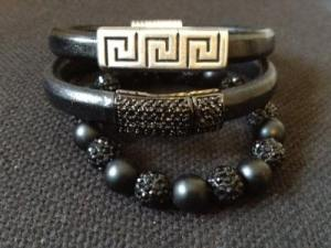 Onyx  leather bracelets clasps in Aztec or Pave' _designer_Donna D Jewelry