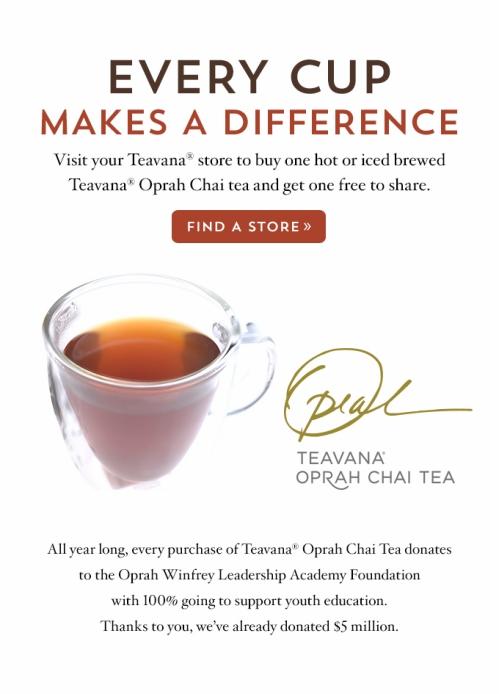 Teavana Oprah Chai Buy one One Free
